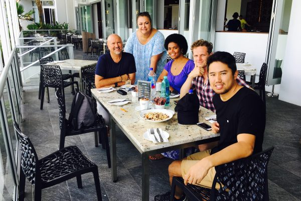 Rob Oliver of PIFR, strategist Elizabeth Powell, public relations expert Lenora Qereqeretabua, Allan Soutaris of SecondMuse and Tash Tan of S1T2 on a research trip in Fiji, March 2017.